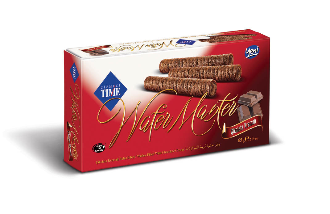 """wafer sticks in a box """"TIME"""" with chocolate"""
