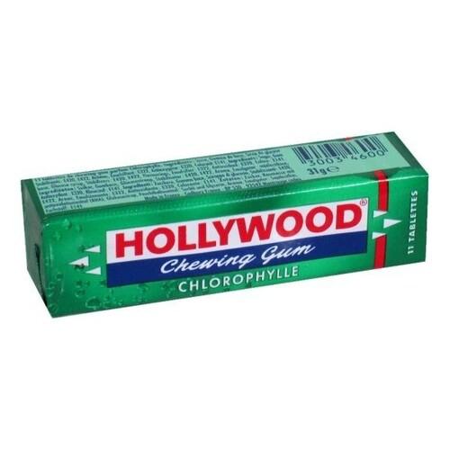 """საღეჭი რეზინის ფირფიტები """"HOLLYWOOD"""" GREEN 31გრ."""