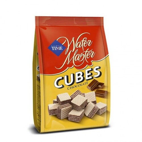 """wafer cubes """"TIME"""" with chocolate"""